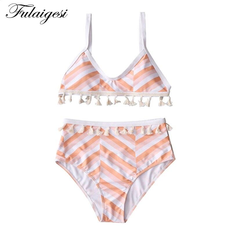Fulaigesi Bikini Women Sexy Wave Striped Flounce Swimsuit 2019 Hot Floral Swimwear High Waist Bandage Bathing Suit Beach Tankini Fine Workmanship Sports & Entertainment