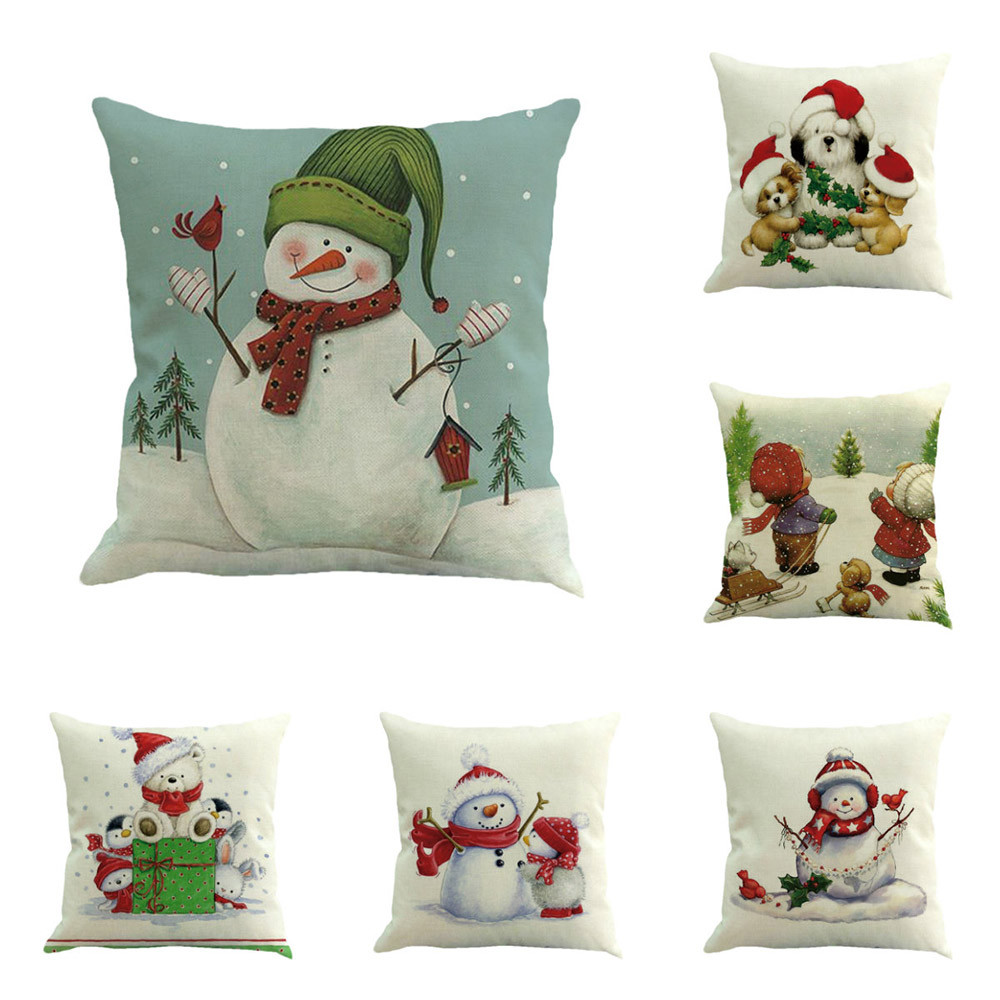 Sofas De Salon Us 1 96 18 Off Snowman Christmas Pillow Covers Printing Sofa Bed Home Decor Pillow Cover Cushion Cover Coussin De Salon 820 In Cushion Cover From