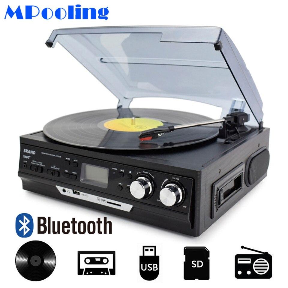 MPOOLING Bluetooth Giradischi In Vinile 3 Velocità di trasmissione a Cinghia Giradischi Lettore di Cassette MP3 Lettore Registratore USB AC110V ~ 130 v/220 ~ 240 v