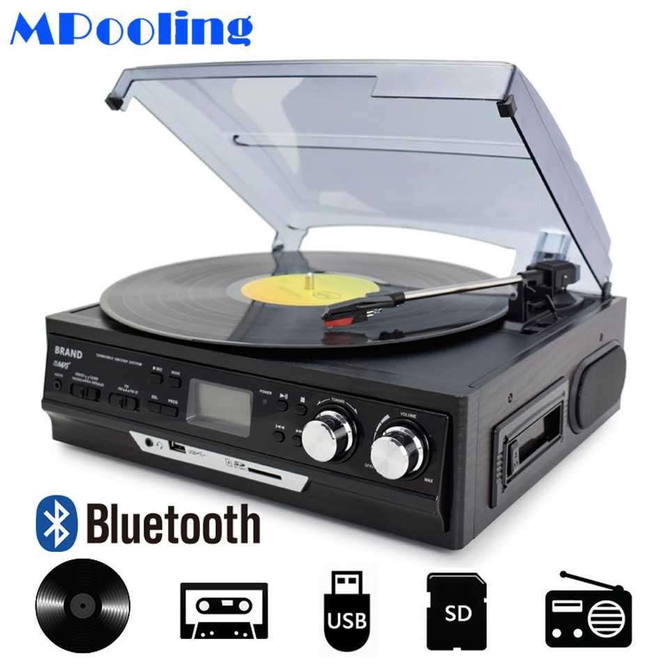 Unterhaltungselektronik Ernst Mpooling Bluetooth Schallplatte Player 3 Geschwindigkeit Gürtel-drive Turntable Kassette Player Mp3 Player Usb Recorder Ac110v ~ 130 V/220 ~ 240 V