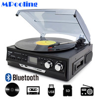 MPOOLING Bluetooth Vinyl Record Player 3 Speed Belt drive Turntable Cassette Player MP3 Player USB Recorder AC110V~130V/220~240V