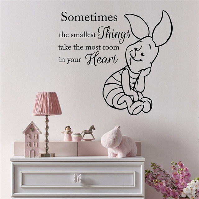 US $7.99 | Wall Decals Quote Winnie The Pooh Decal Piglet Vinyl Sticker  Decor Art Sticker Nursery Decor for kids rooms Decor D699-in Wall Stickers  ...