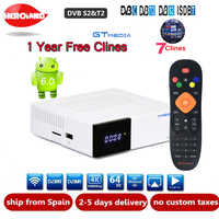 FREE SAT GTC Android 6.0 TV BOX DVB-S2/T2/Cable/ISDBT Amlogic S905D 2GB 16GB BISSkey Powervu 4K Satellite Receiver+1 Year clines