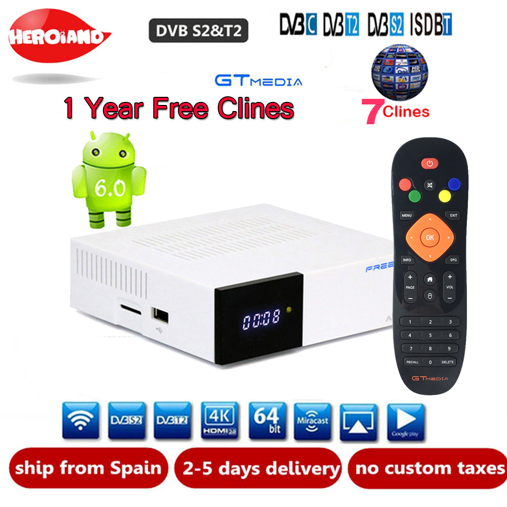 FREE SAT GTC Android 6.0 TV BOX DVB-S2/T2/câble/ISDBT Amlogic S905D 2 GB 16 GB BISSkey Powervu 4 K récepteur Satellite + 1 an clines