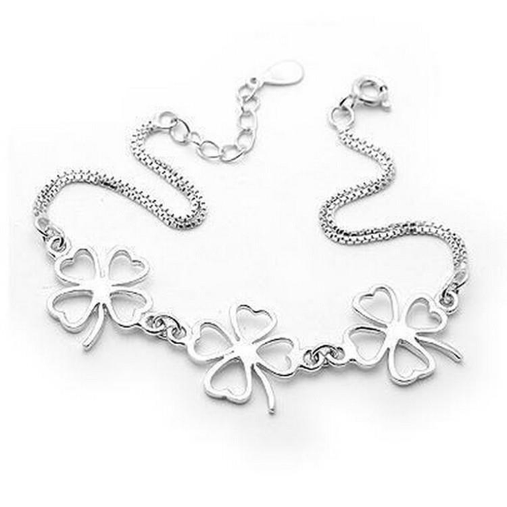 Authenetic 925 Sterling Silver Bangles Bracelets Chain Two Lines Three Clover Bracelet For Women Wedding Party Jewelry Gift