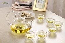 7 teile/satz LONGMING HAUS Neue hitzebeständigem glas teekanne + 6 doppelschicht tee tassen für Kaffee und Tee-Sets heißer verkauf JO 1055