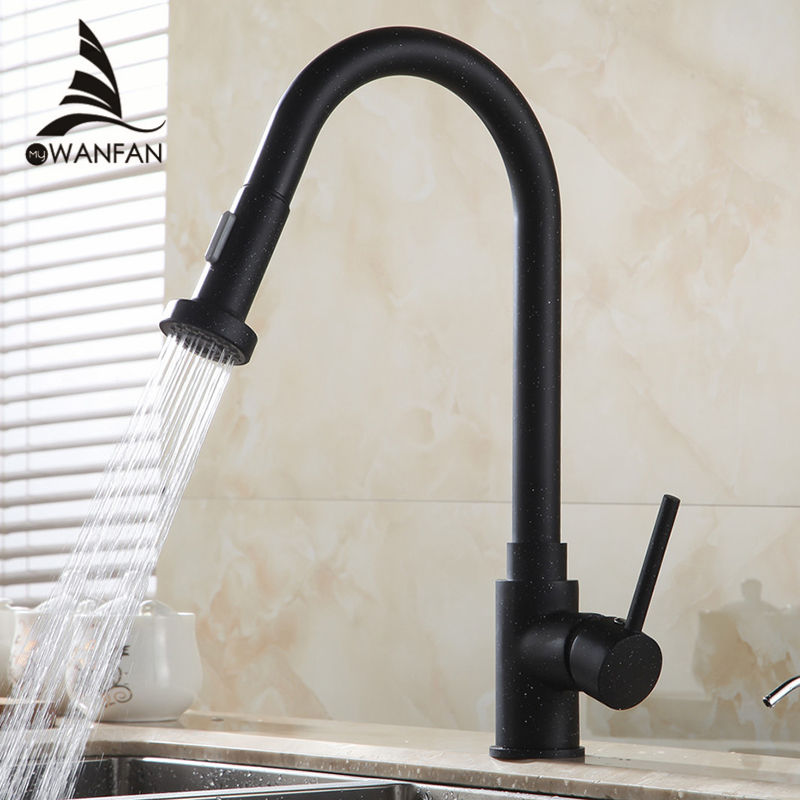 Kitchen Faucet Single Handle Hole Pull Out Spray Brass Kitchen Sink Faucet Mixer Cold Hot Water