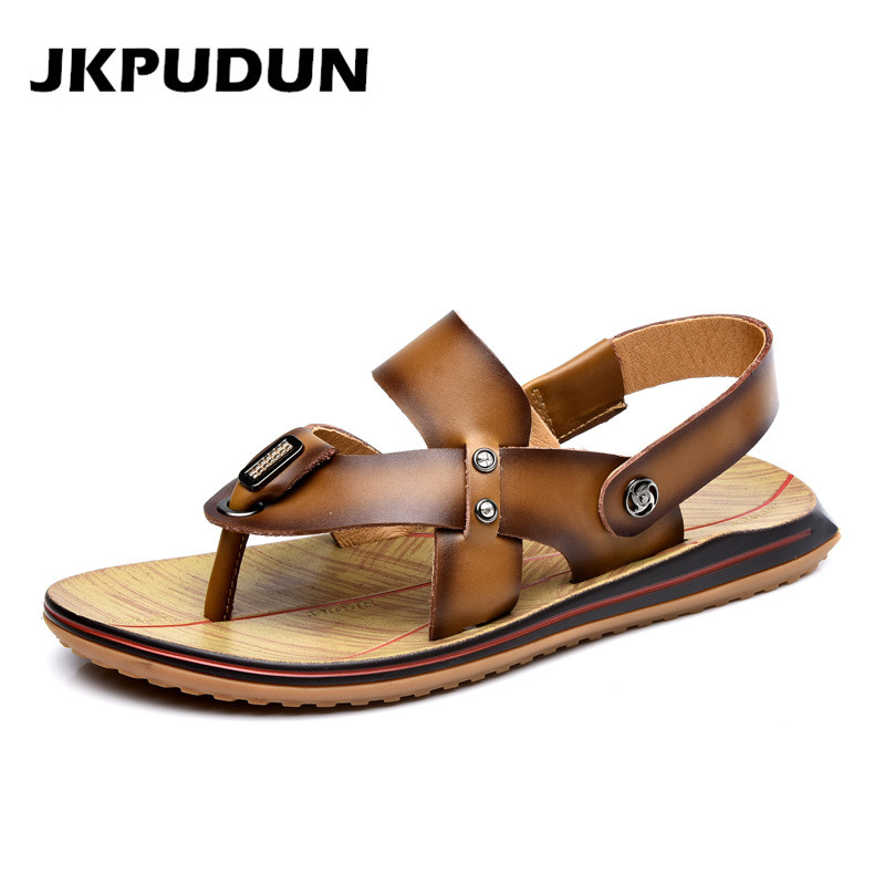 Summer Men Beach Roman Sandals Leisure Genuine Leather Brand