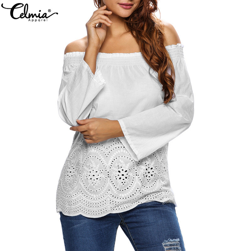 Celmia 2018 Summer Women Off Shoulder Sexy   Blouses     Shirts   Slash Neck Long Sleeve Lace Embroidery Casual Tops Blusas Plus Size