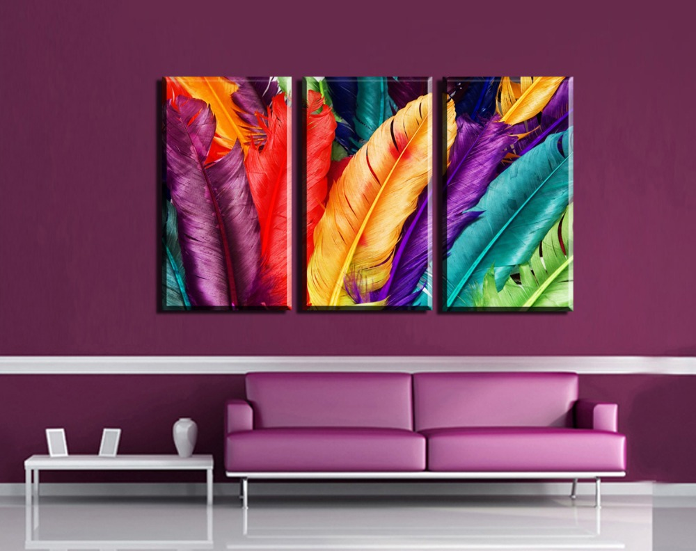 3pcs modern wall art canvas print colorful feather painting frameless wall decor painting living room wall art canvas home decor in painting calligraphy