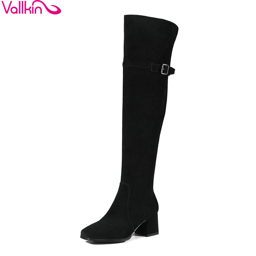 VALLKIN 2018 Winter Women Boots Warm Short Plush Cow Suede Over The Knee Boots Square High Heel Ladies Fashion Boots Size 34-39 vallkin 2018 lace up women boots rhinestone square high heel over the knee boots stretch fabric wedding ladies boots size 34 43