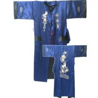 Fashion Reversible Two face Chinese Women's Silk Satin Robe Kimono Embroidery Gown Dragon S0003