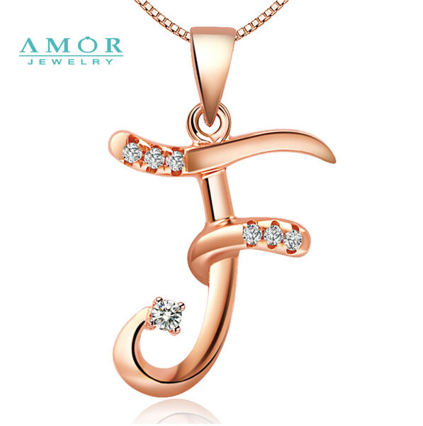 Amor Brand Letter F Diamond 18k White Gold Pendant Jewelry