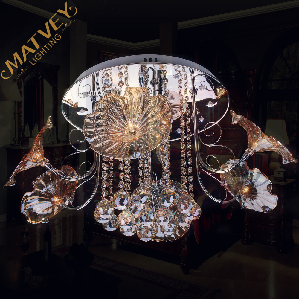 Modern crystal ceiling lamp ,  gold body + crystal cognac , chrome body + clear crystal,  in stock, quick delivery