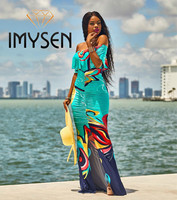 IMYSEN 2017 Summer Autumn Casual Print Dress Fashionable Boho Beach Holiday Dresses Slash Neck Off Shoulder