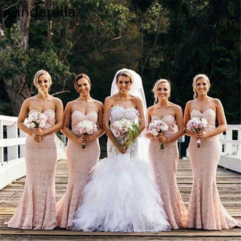 Cinderella New Arrival Sweetheart Mermaid Lace Bridesmai Dresses Court Train Lace Up Back Trumpet Bridesmaid Gowns Cheap Dresses