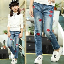 Kids Pants for Girls Jeans Good Quality Denim Trousers Spring Autumn New Brand Trousers Spring Children Cartoon Hot Lips Pants