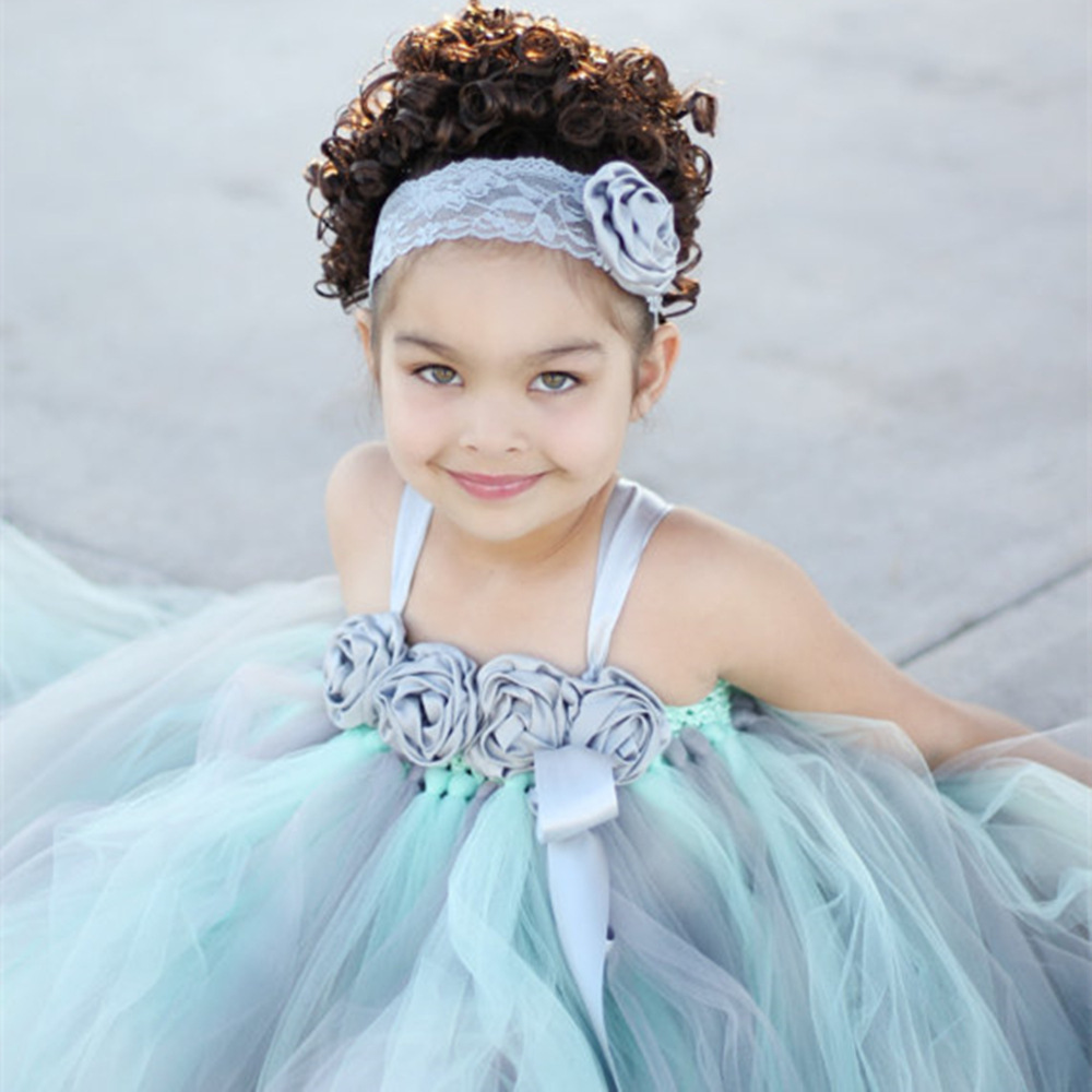 Mint Green Flower Girl Princess Dress Kid Party Pageant Festival ...