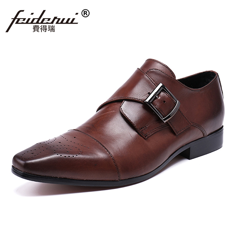 Plus Size Vintage Pointed Toe Carved Male Loafers Genuine Leather Monk Strap Men
