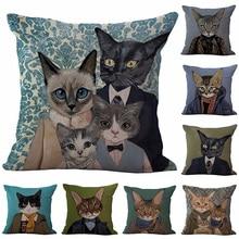 Modern Cartoon Cat Printed Cotton Linen Pillowcase Decorative Cushion Pillows Use For Home Sofa Car Office