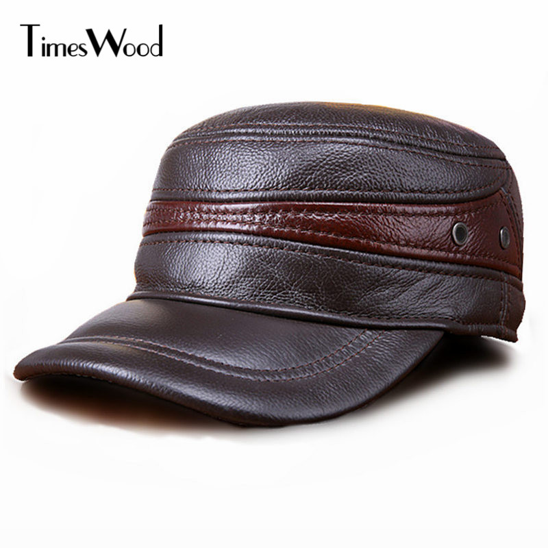 [TIMESWOOD]100% Genuine Leather Baseball Caps Real Cowskin Hats Men Women Ear Protection Caps Autumn Winter Warm Hat Adjustable aetrue beanie women knitted hat winter hats for women men fashion skullies beanies bonnet thicken warm mask soft knit caps hats