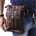 Oil Wax/Crazy Horse Cowhide Military Waist Bag Men Real Leather Shoulder Messenger Bags Male Hip Cell Phone Case Fanny Belt Pack