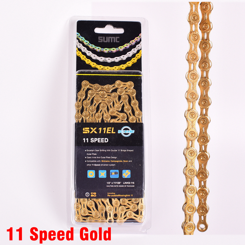 SUMC Bike Chain SX11EL for M7000 M8000 11 22 33 Speed MTB Mountain Road  Bicycle Chain Titanium Golden Silver Color MissingLink