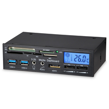 VAKIND Black USB3 0 Computer Front Panel Chassis Multi function Media Dashboard Card Reader 14 9