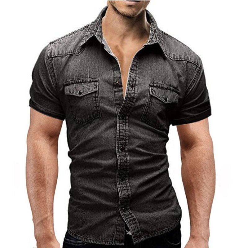100% Wahr 2018 Neue Kurzen Ärmeln Denim Shirt Männer Camisa Sozialen Masculina Slim Fit Tasche Shirts Mode Beiläufige Mens Solide Shirts