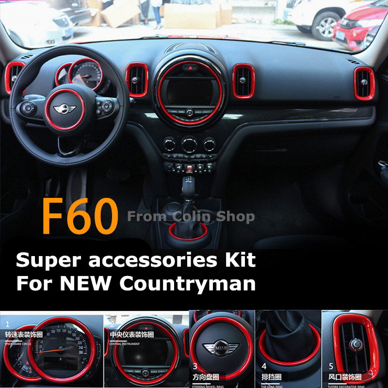 Car Accessories Suite Kit Stylish For Mini Cooper Mini Countryman F60 2017 2018 Checkered Pink