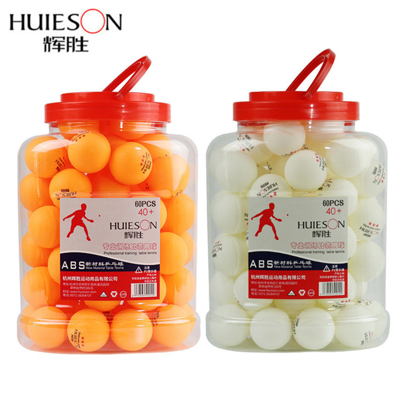 HUIESON 60Pcs/Bucket Professional 3 Star Table Tennis Balls D40+mm 2.8g New Material ABS Plastic Ping Pong Ball Adult Training