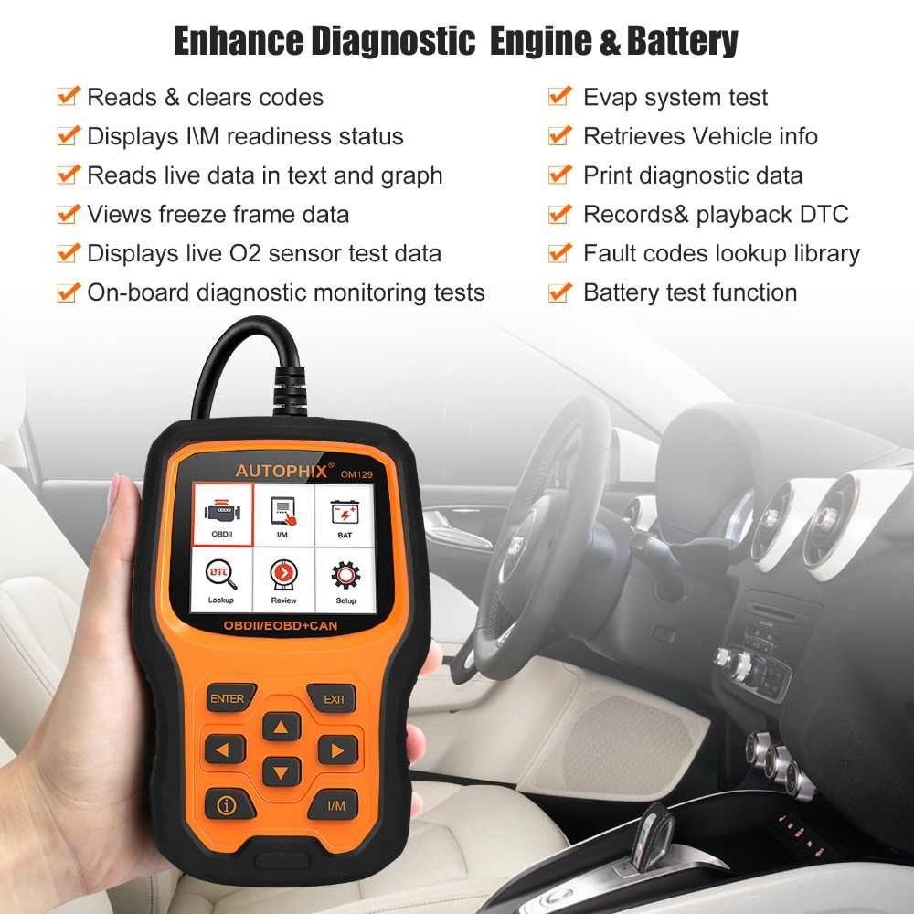 Autophix OM129 OBD2 Automotive Scanner Car Diagnostic Tool for Engine  Tester Battery OBD Code Reader Auto Scanner Tools ODB2