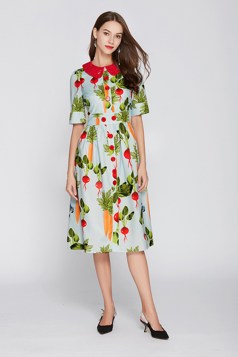 Fashion print peter pan collar dress 2018 summer runway slim fit elegant dress D257 in Dresses from Women 39 s Clothing