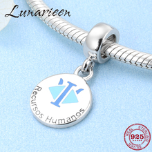 Fashion 925 Sterling Silver recursos humanos letter fine Pendants beads Fit Original Pandora Charm Bracelet Jewelry making