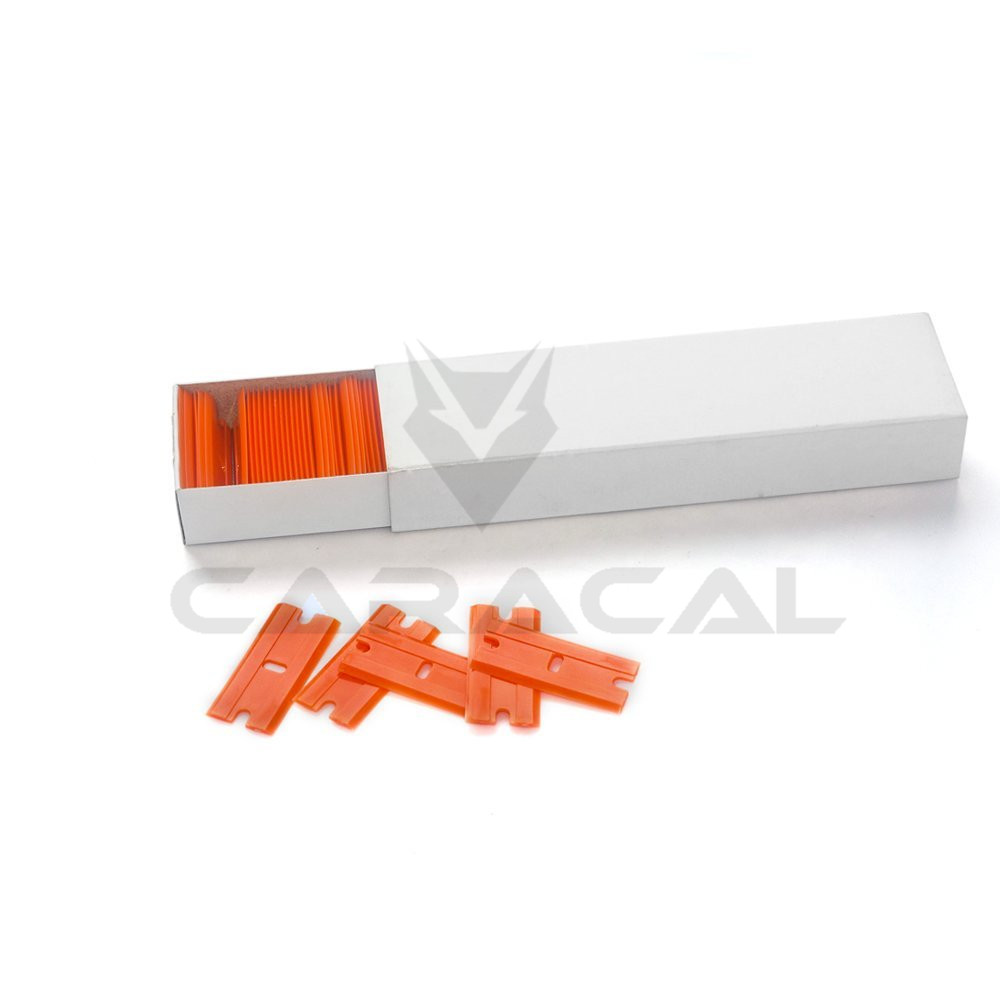 100PCS/Lot Plastic Razor Scraper Blades Double Edged Razor Blades Squeegee For Car Wrapping Window Tint Glue Remove Tools smt bevel angle glue metal squeegee blades 30 6mm