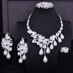 Image 1 - GODKI Luxury Flower Bud Mixed Women Wedding Cubic Zirconia Necklace Earring Saudi Arabia Jewelry Set Jewellery Addiction