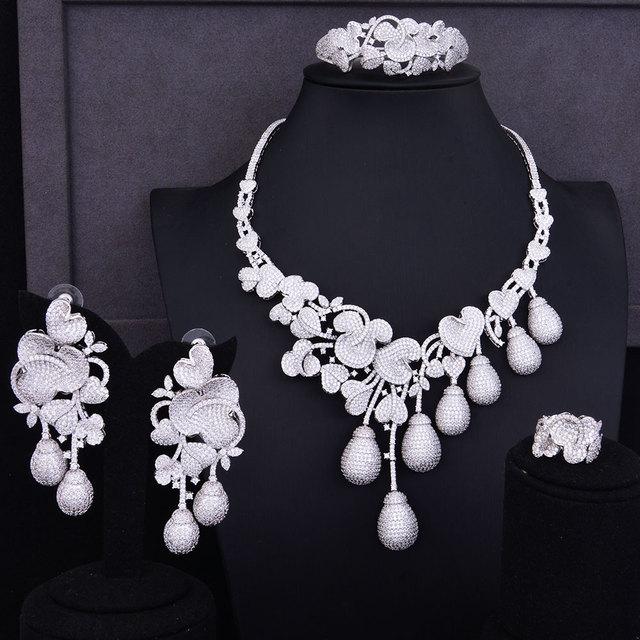 GODKI Luxury Flower Bud Mixed Women Wedding Cubic Zirconia Necklace Earring Saudi Arabia Jewelry Set Jewellery Addiction