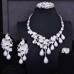 Image 1 - GODKI יוקרה פרח ניצן מעורב נשים חתונה מעוקב Zirconia שרשרת עגיל ערב הסעודית תכשיטי סט תכשיטי התמכרות