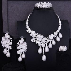 Image 1 - GODKI роскошный цветочный бутон смешанные женские свадебные кубические циркониевые ожерелье серьги аксессуары для ювелирных изделий