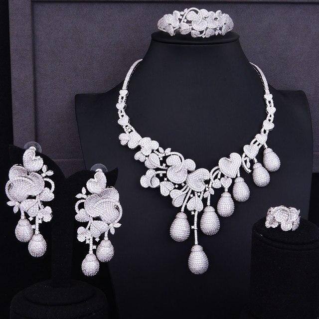 GODKI роскошный цветочный бутон смешанные женские свадебные кубические циркониевые ожерелье серьги аксессуары для ювелирных изделий