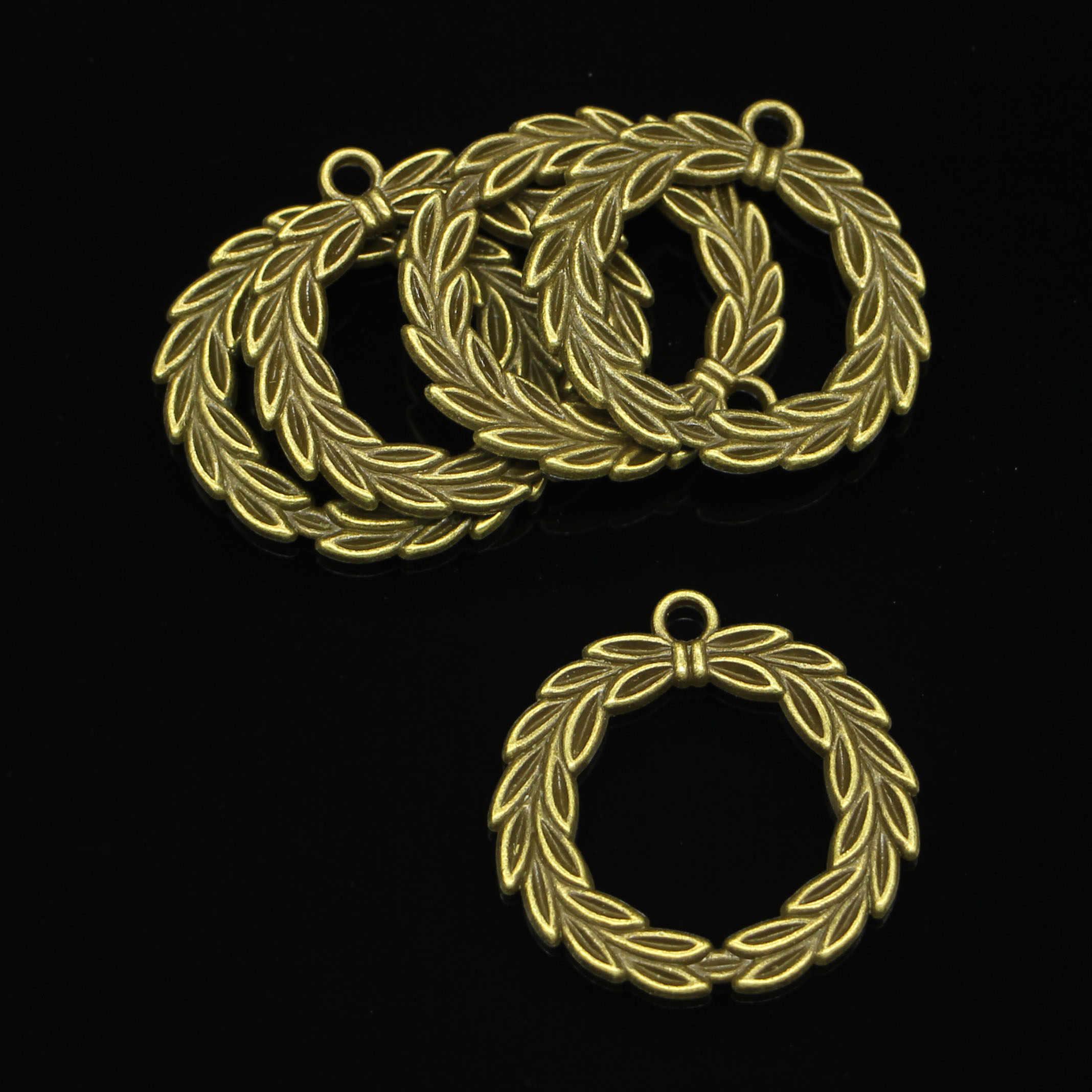 21 шт. античная бронза с покрытием оливковая ветка лавровый венок подвески для самостоятельного изготовления ювелирных изделий Подвески ручной работы 34 мм