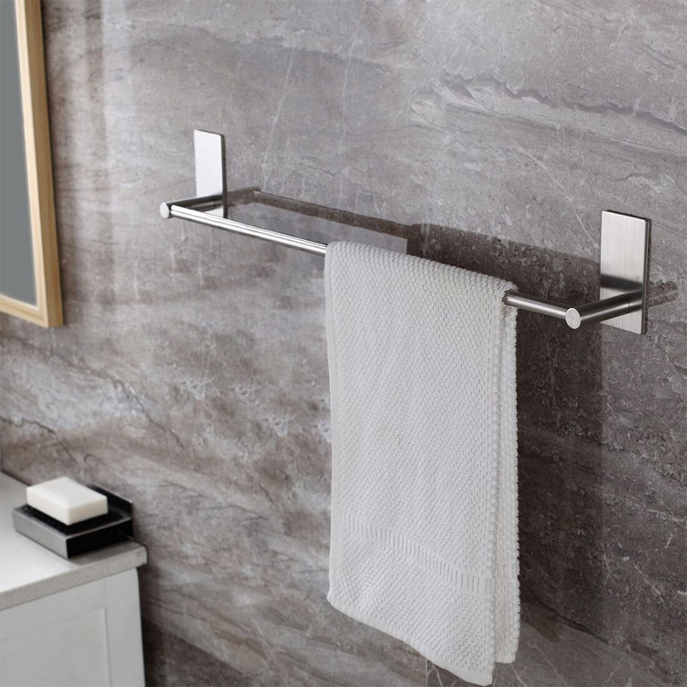 Leyden Brushed 304 Stainless Steel Modern Self Adhesive Bathroom Single Towel Bar Silver Towel Holder Rack Bathroom Accessories
