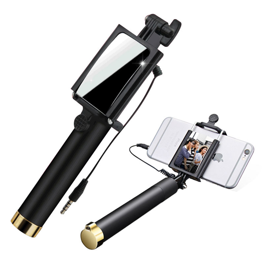 Mini Universal Selfie Stick Wire Handheld Extendable Portable With Mirror For iPhone 6 6s 7 Plus Samsung Galaxys8 note 8