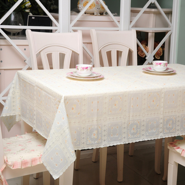 Disposable Plastic PVC Tablecloth Table Towel Pastoral JK8006 Lace  Tablecloths Cutting Stamping Proof Waterproof