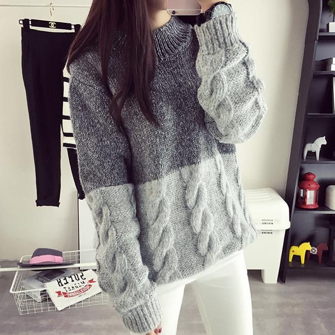 Autumn Winter Sweater Big Size Patchwork Hemp Flowers Pattern Solid Color Loose Thick Warm Full Sleeve