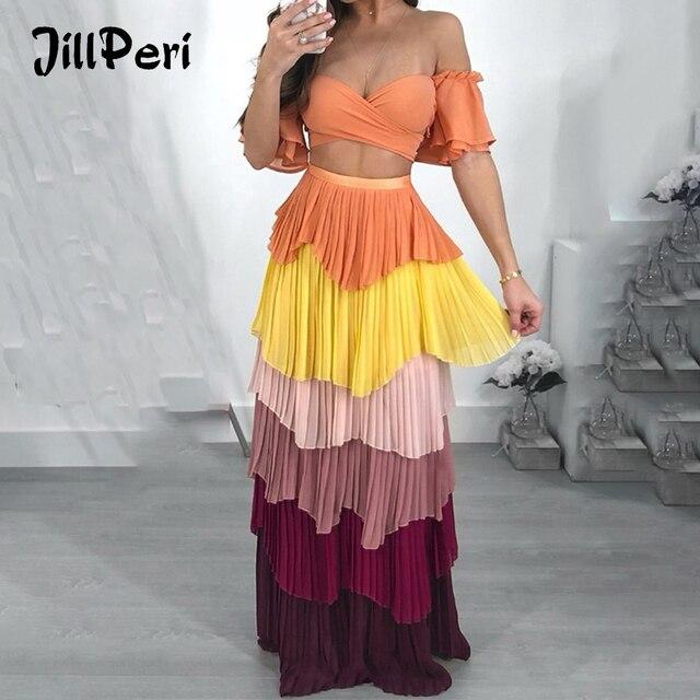 c8fbe3260cda JillPeri Women Off The Shoulder Ruffle Sleeve Crop Top and Maxi Long Skirt  Two Piece Set