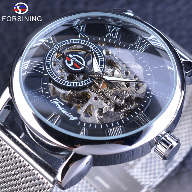03f96a539de Forsining Mechanical Watches Fashion Skeleton Clock Silver Stainless Steel  Band Casual Men s Wrist Watch Luminous Hands