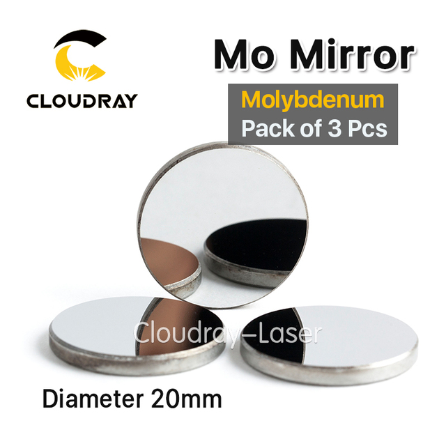Cloudray High Quality Mo Mirror Dia. 20mm THK 3mm for CO2 Laser Engraving Cutting Machine Pack of 3 Pcs