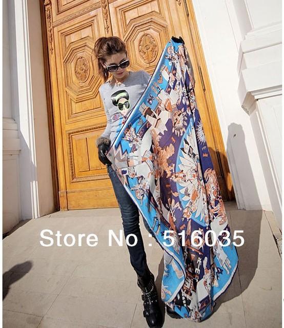 Envío gratis 130 X 130 CM seda de imitación de satén más nuevo marca diseño moda mujer bufanda de la alta calidad