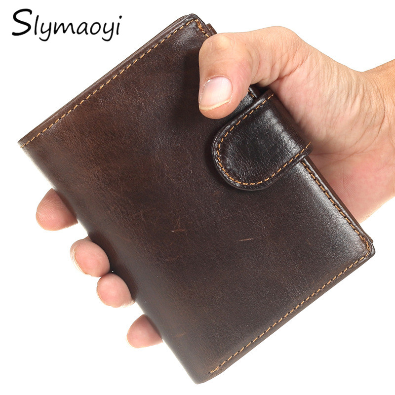 Slymaoyi Brand Men Wallets Vintage Genuine Oil Wax Leather Cowhide Short Bifold Wallet Purse Card Holder With Coin Pocket genuine leather men wallets short coin purse vintage double zipper cowhide leather wallet luxury brand card holder small purse